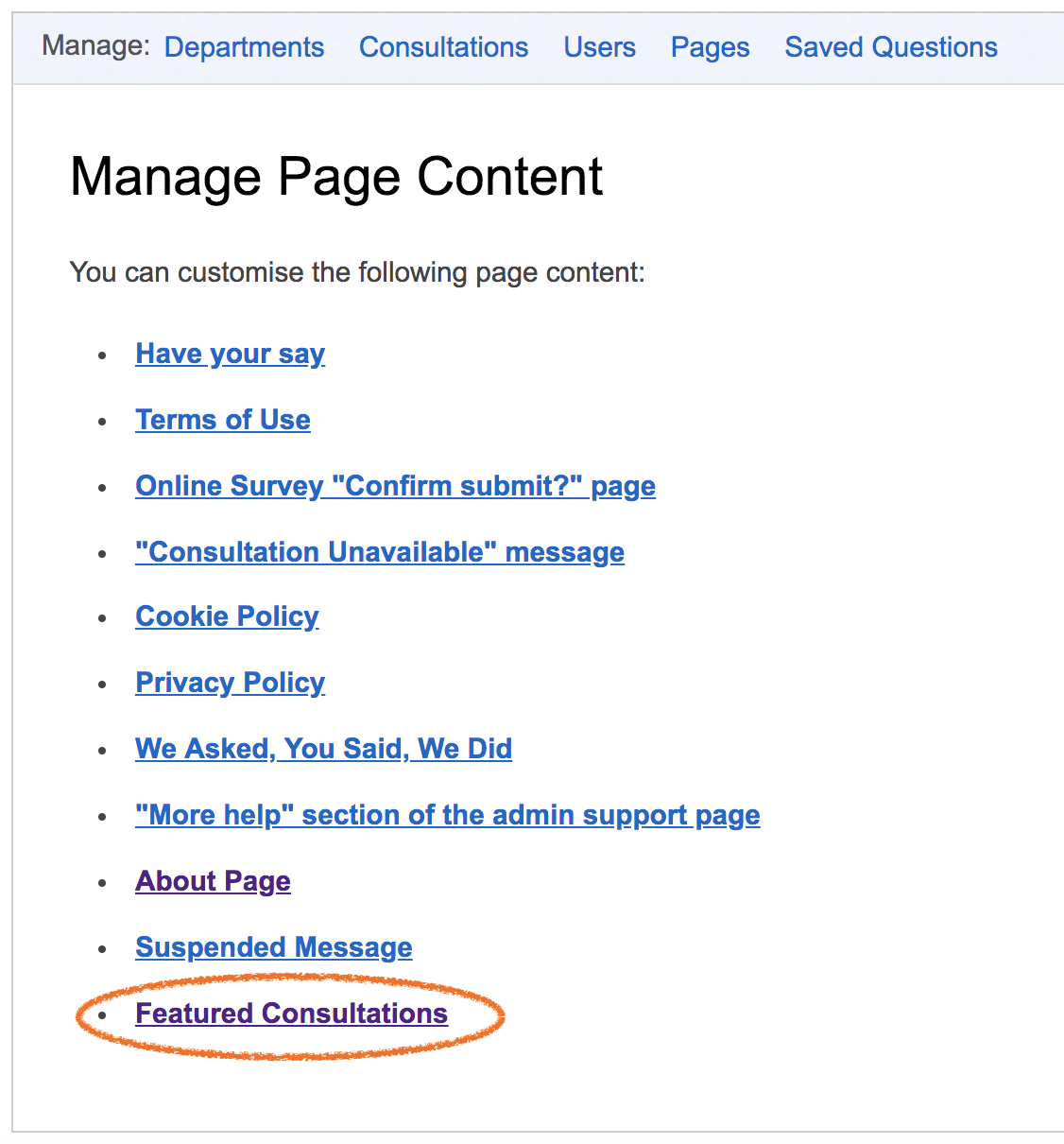 the Featured Consultations link at the bottom of the list of editable pages, which is circled in orange to make it prominent
