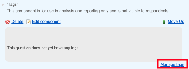 Screenshot of the analyst tag section where tags can be added