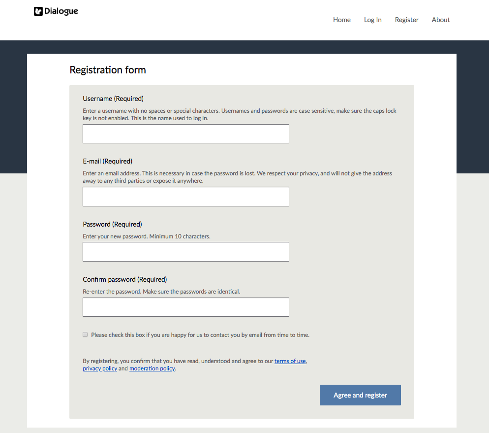 Dialogue Registration form with new 10 character minimum password requirement highlighted in red box. Screenshot.