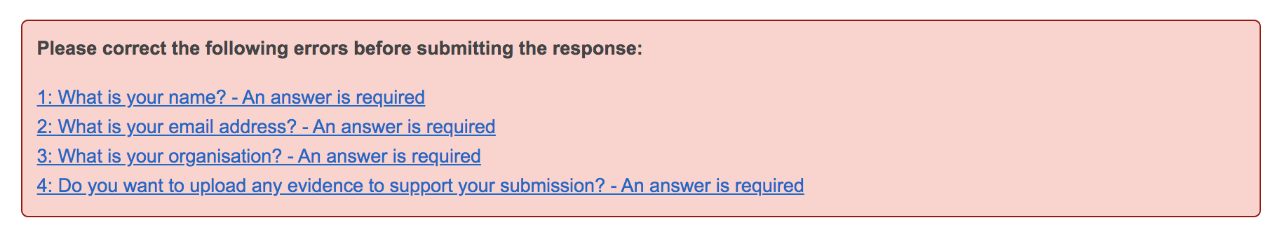 Screenshot showing validation errors at the top of the Add a response manually page
