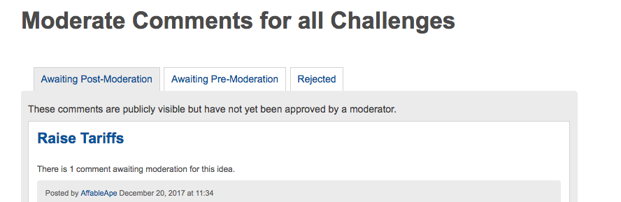 the moderation options page in Dialogue allowing for post-moderation of comments