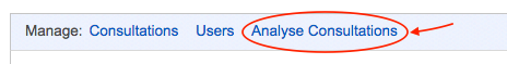 The manage bar with the Analyse Consultations link highlighted
