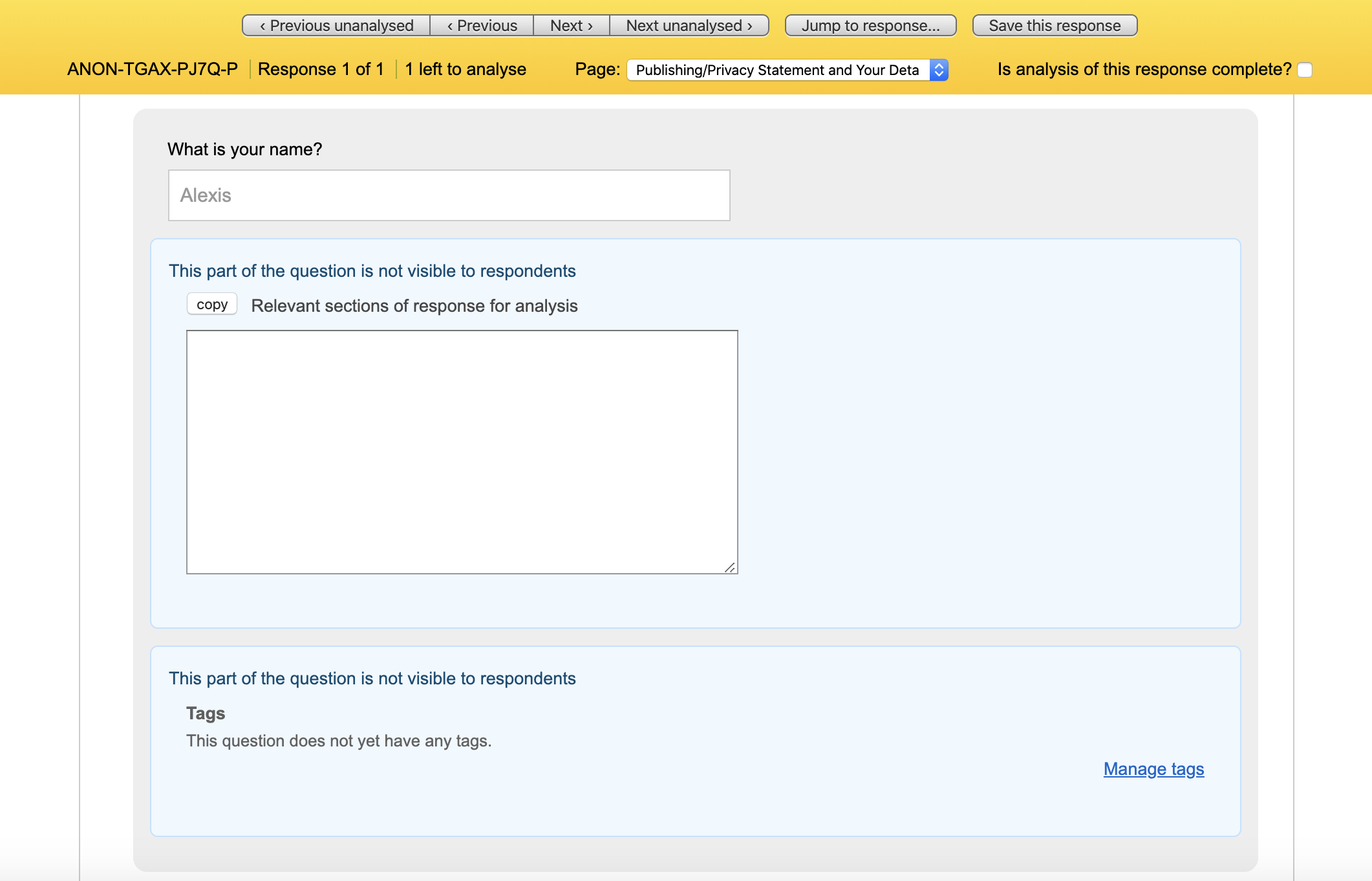 Response in analysis view with menu bar at top and responses to each question
