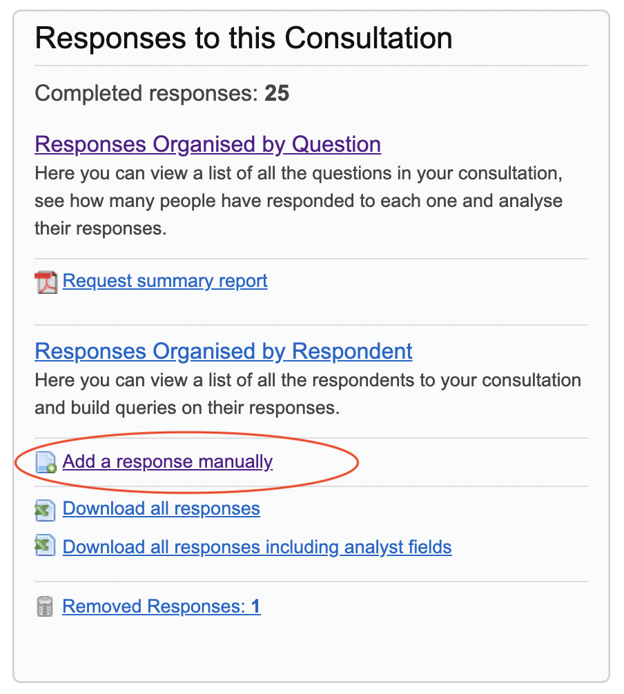 Responses to this consultation section with add a response manually link highlighted. Screenshot.