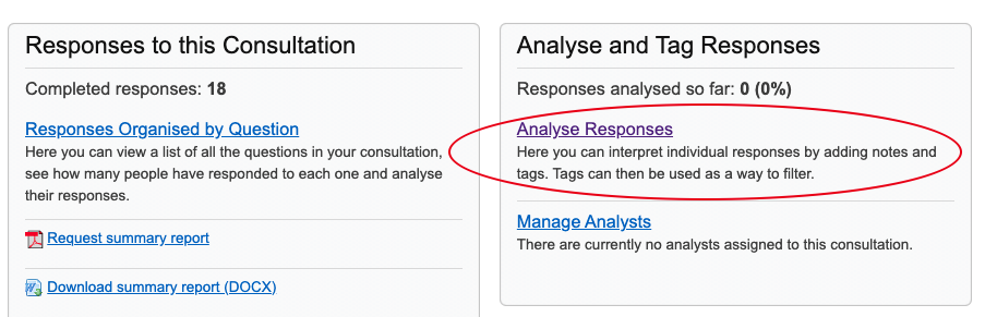 Shows part of the consultation dashboard with the analyse responses link on the right hand side circled in red