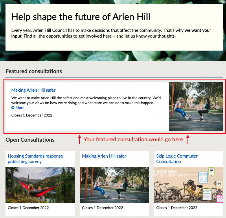 the hub homepage with featured consultations outlined in red and above the list of open consultations