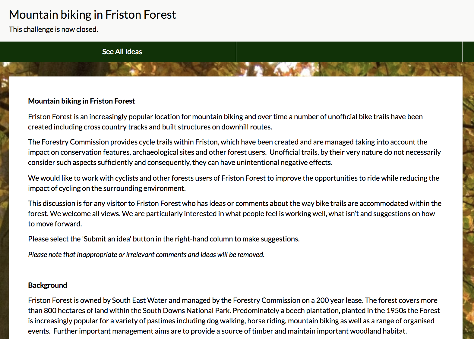 Forestry Commission's Fristol Forest challenge on their Dialogue site with challenge details visible