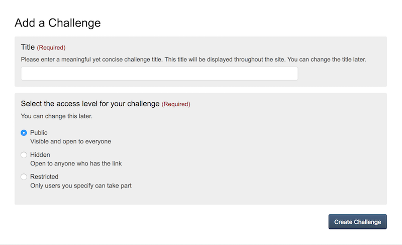 screenshot of add challenge page