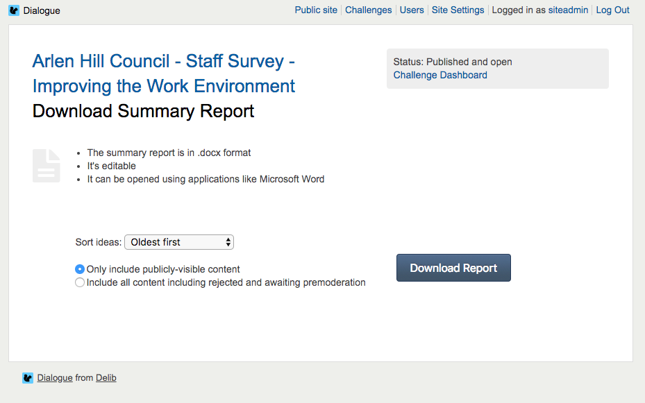 image showing the summary report page with the available export options