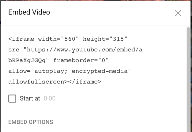 An example embed code from youtube
