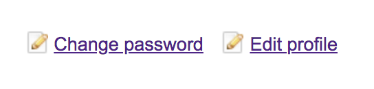 Screenshot of the button to change password.
