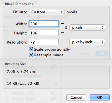 Image dimensions dropdown includes fields for width and height. Screenshot.