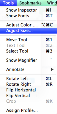 Adjust Size is selected in the Tools menubar item within Preview. Screenshot.