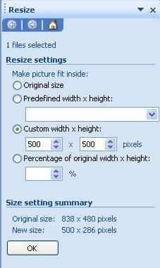 The resize panel has various resize settings and a summary of the original and new size Custom width and height is one of the options. Screenshot.