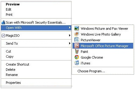 Windows right click menu with Open With selected and then Microsoft Office Picture Manager selected in the submenu. Screenshot.