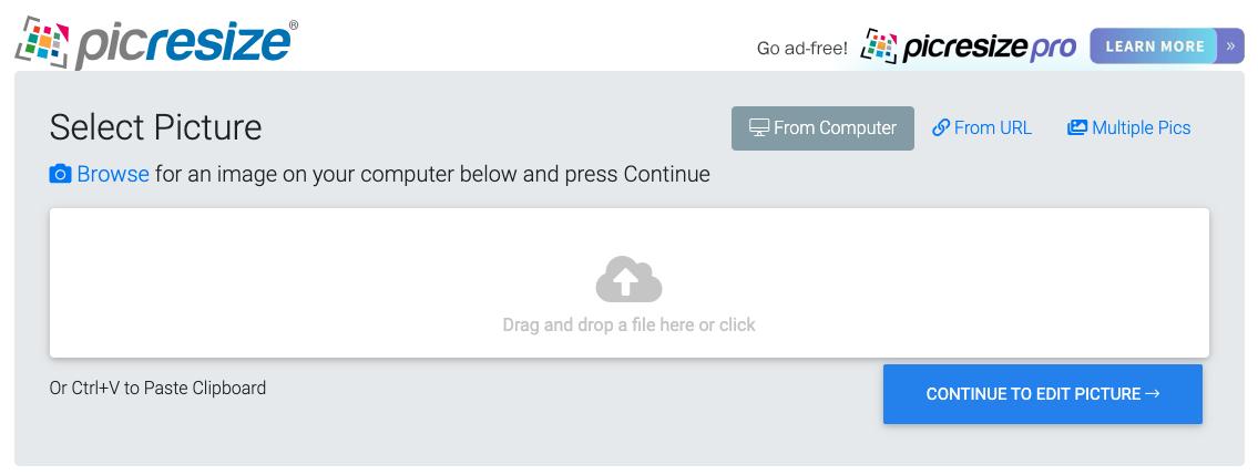 Pic resize homepage. Screenshot.