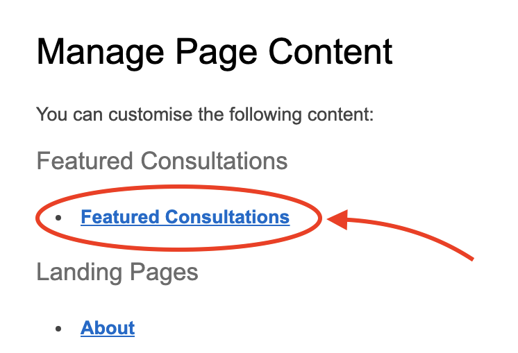 Headings under Manage Page Content with heading Featured Consultations highlighted.