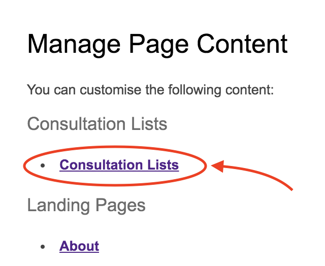 Headings under Manage Page Content with heading Consultation Lists highlighted to show it has replaced heading Featured Consultations.