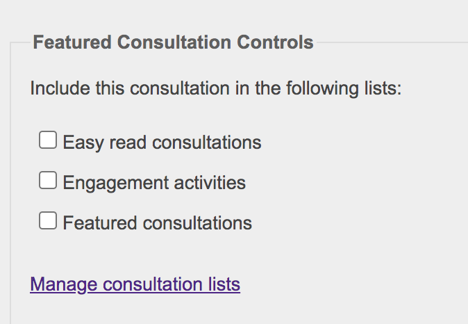 Featured Consultation Controls showing lists to choose from.