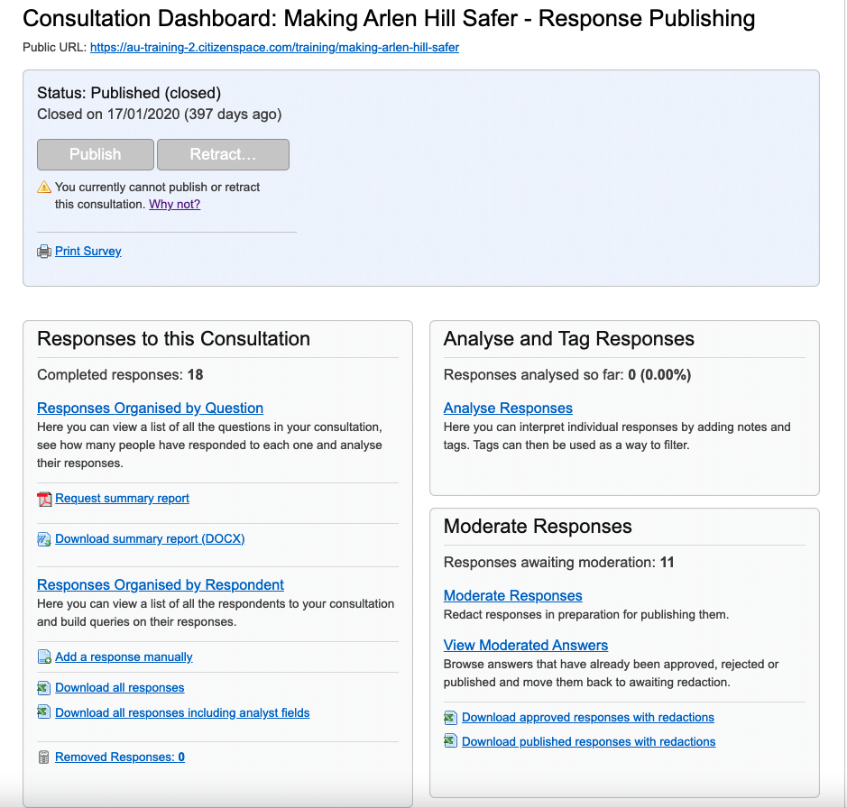 Analyst only view of the consultation dashboard with Response Publishing enabled