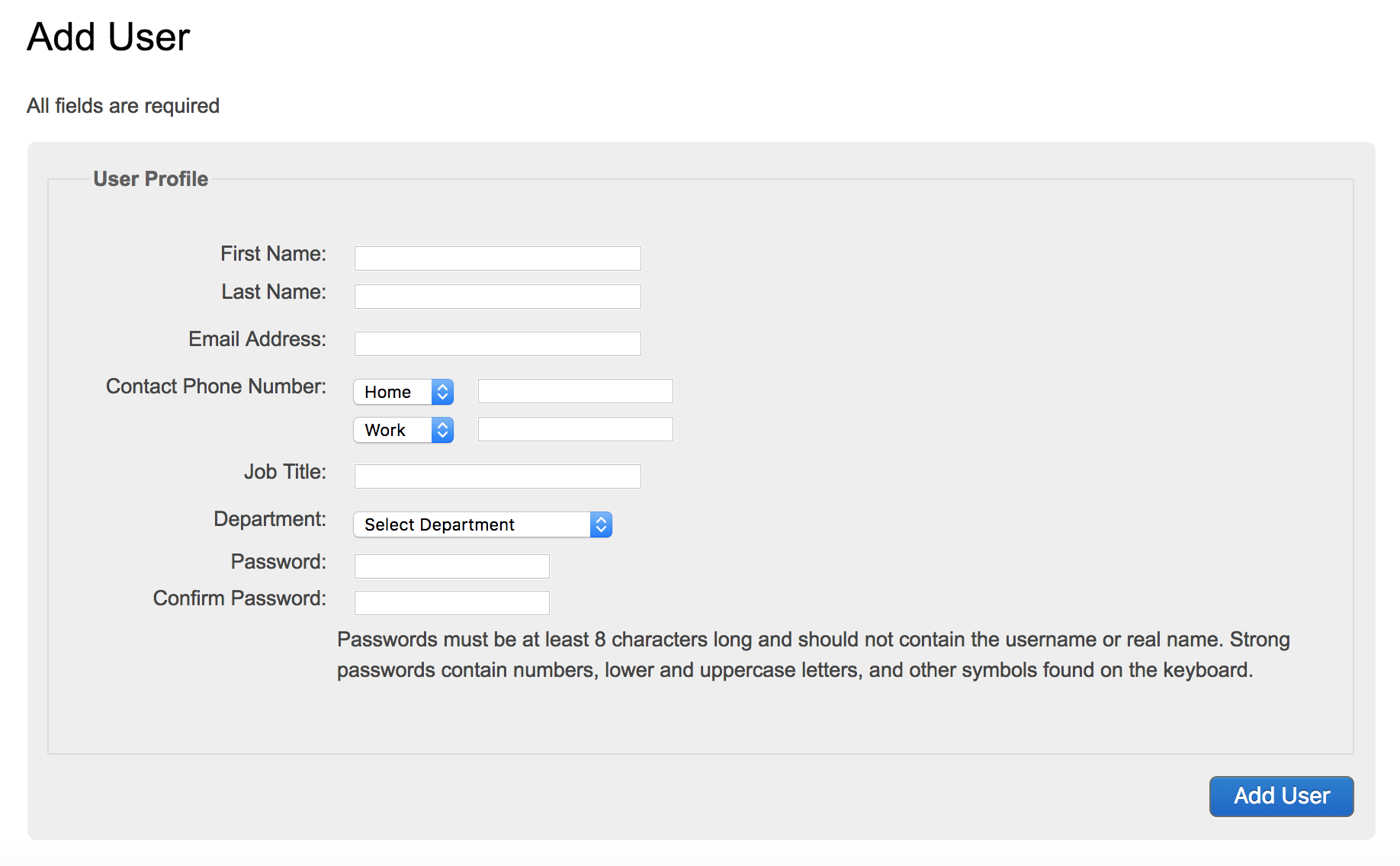 Screenshot showing the form you must fill in to add a new user in Citizen Space