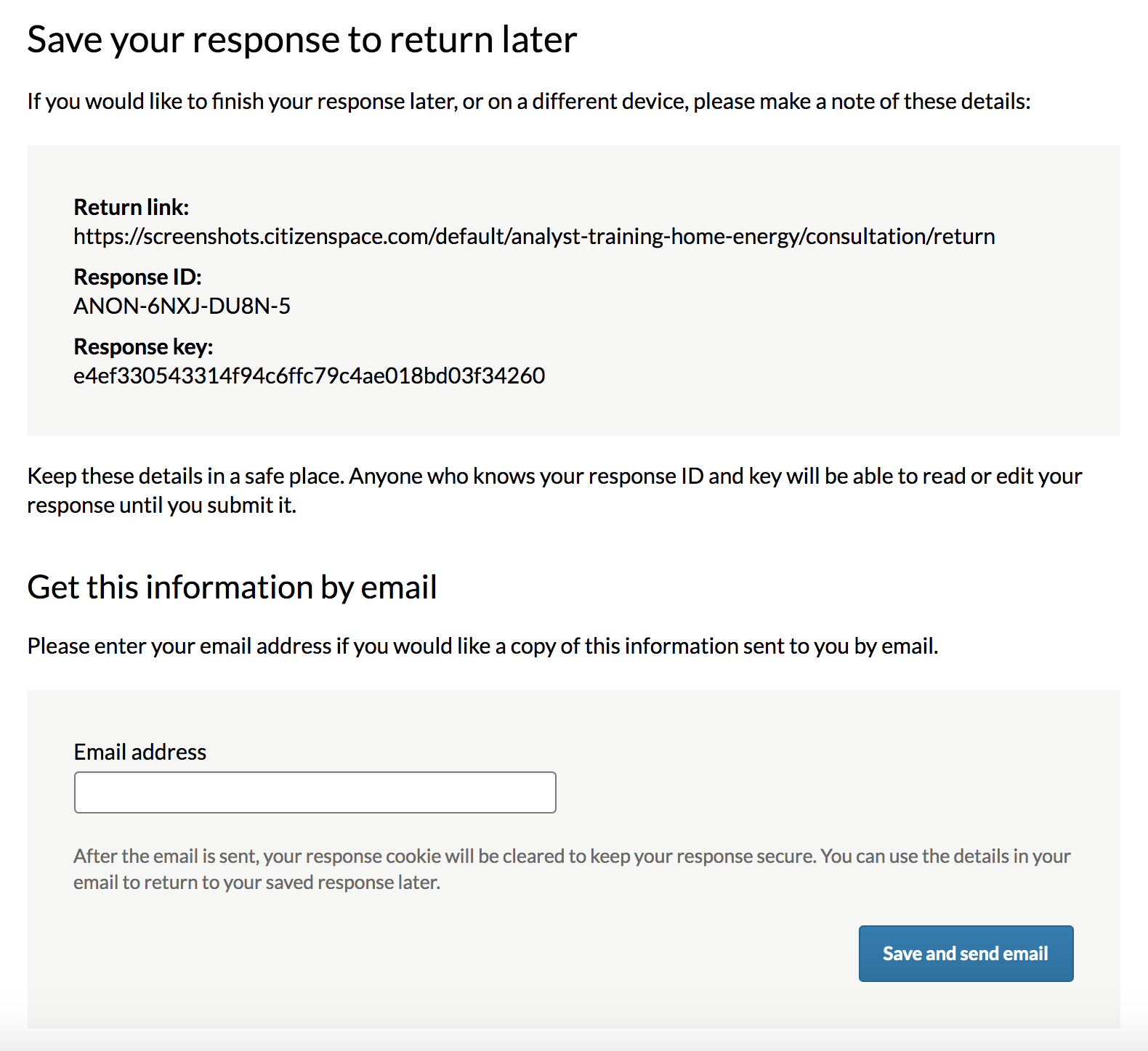 Save and return page which provides a return link, a response key and the response ID