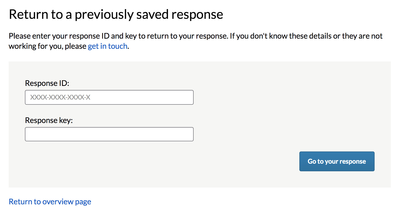 Screen to enter Response ID and Response Key