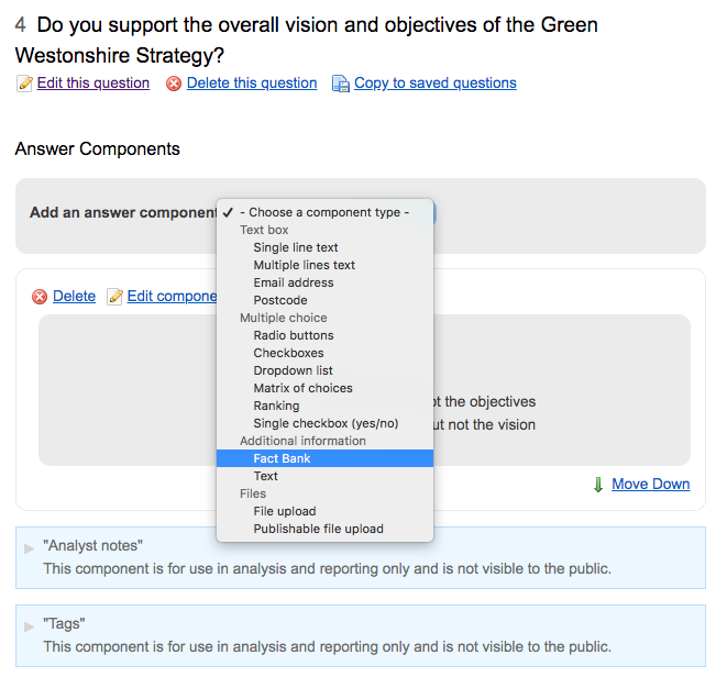 Screenshot showing the fact bank option highlighted in the list of component types when adding a new component to a question