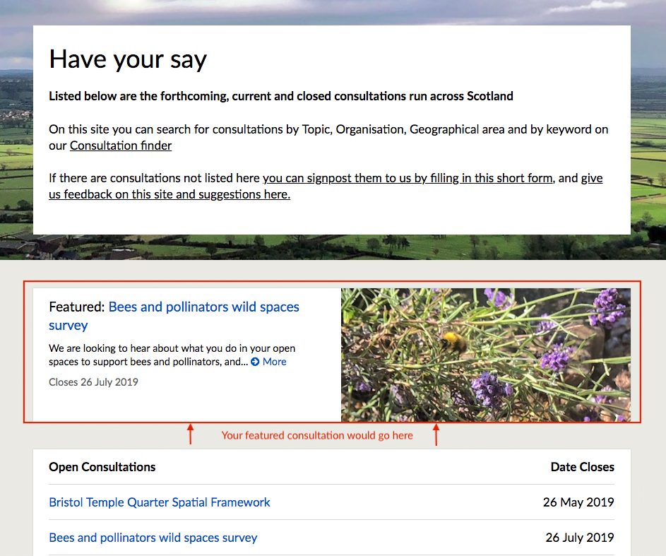 the hub homeage with an image of the featured consultation outlined in red and above the list of open consultations