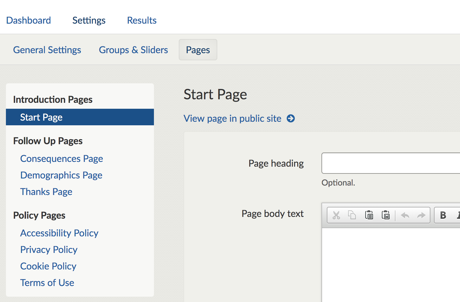 Screenshot of the editable pages screen showing the policy pages at the bottom of the left hand side menu