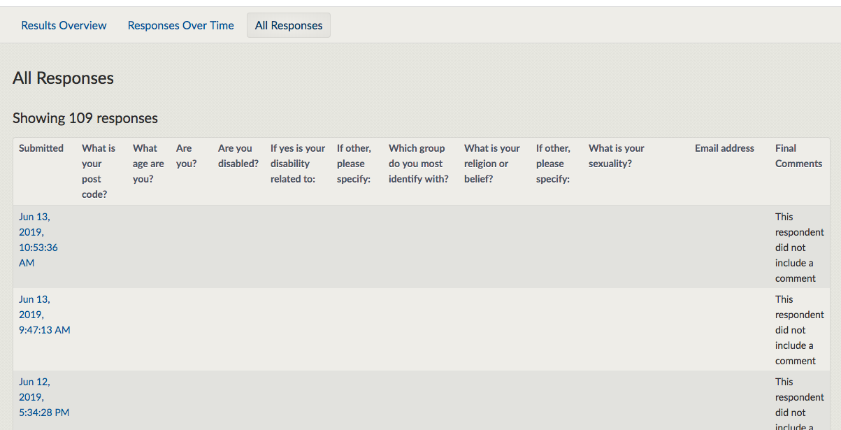 Screenshot showing the view all responses page