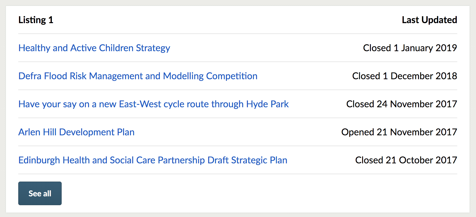 Consultation listing 1, showing consultations with text links and end dates