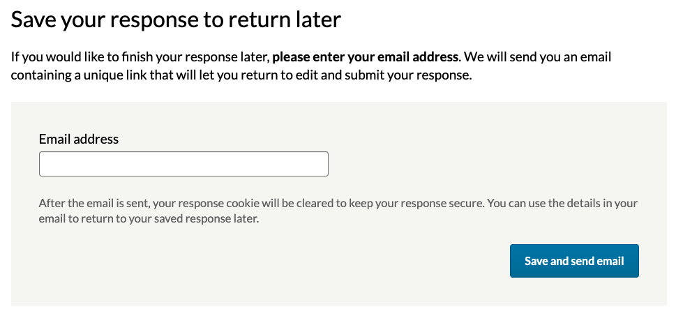 Save and return page with email field.
