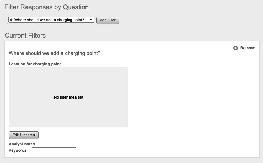 Analyse repsonses by questions screen with the edit filter area selected to filter question responses by an area. Screenshot.