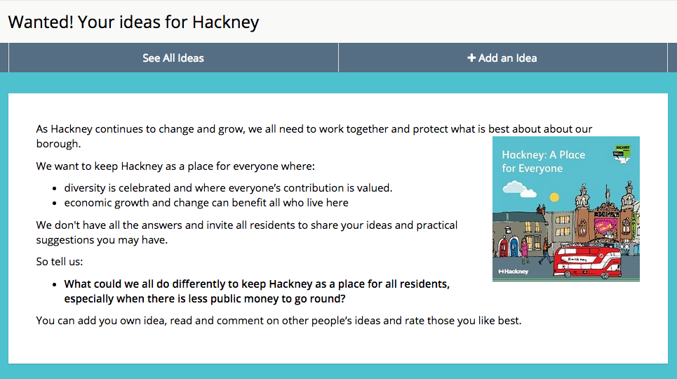 image of Hackney Council's Dialogue challenge on how to recognise diversity and improve Hackney for all residents