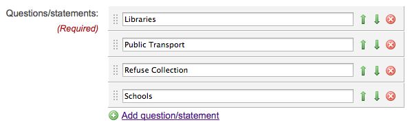 Screenshot of the 'Questions/statements' field on the Add/Edit matrix question page, showing four items with reordering buttons, delete buttons, and an 'Add question/statement' link