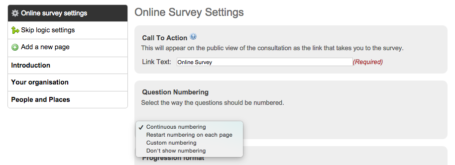 image of the online survey settings page with the numbering options drop down expanded to show the four options as described in the following sentence