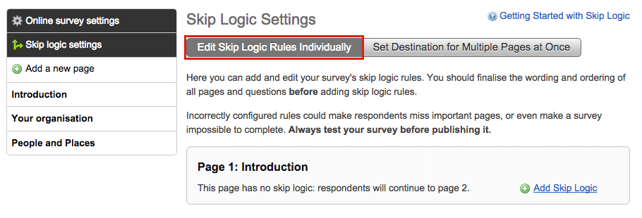 image showing the skip logic settings page with the option to edit skip logic rules individually highlighted with a red box