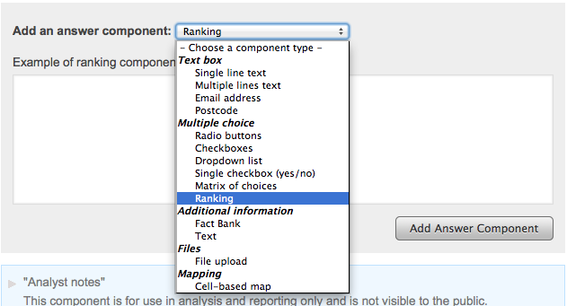 Screenshot showing the dropdown list of available answer components with 'Ranking' highlighted, and the 'Add Question Component' button