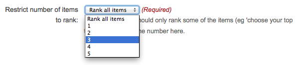 Screenshot of the 'restrict number of items to rank' field on the 'Add/Edit ranking component' form, showing a dropdown list containing 'Rank all items' and the numbers 1 to 5.  The number three is highlighted