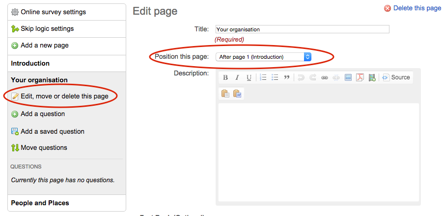 edit, move or delete page screen with link to it and the dropdown for moving the page circled in red