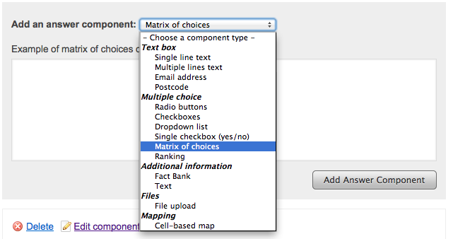 Screenshot showing the dropdown list of available answer components with 'Matrix of choices' highlighted, and the 'Add Question Component' button