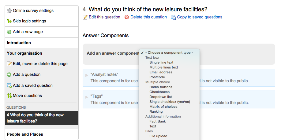 image showing the dropdown list of available answer components