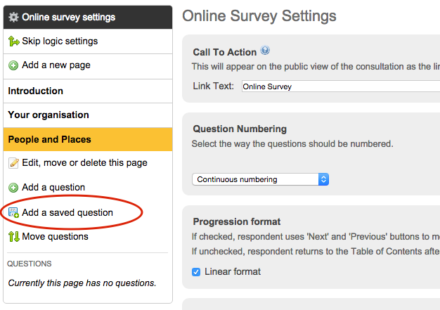 image of the online survey sidebar on the left with add a saved question circled in red