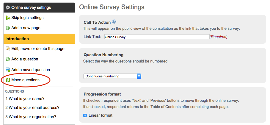 image of the online survey pages with the move questions option circled in red on the left sidebar