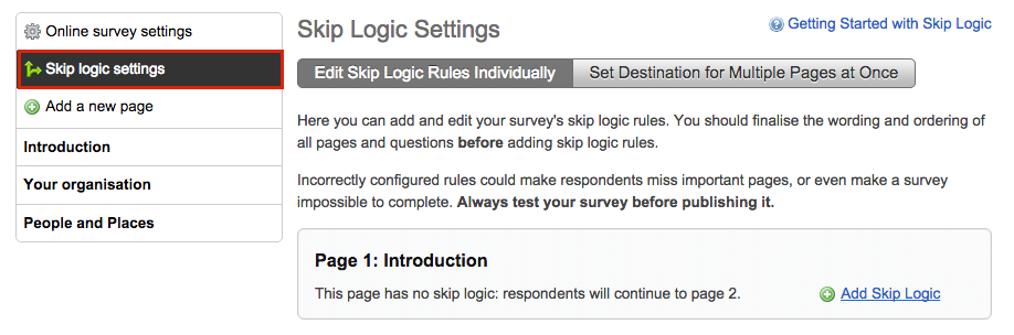 image showing the online survey page with the skip logic setting button in the left sidebar highlighted by a red box