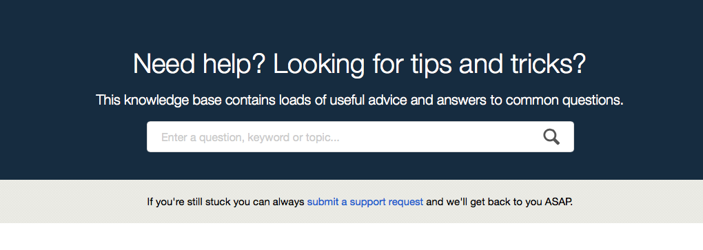 the knowledge base header bar showing a search text box into which you can type search terms, and a link to allow you to submit a support request to us