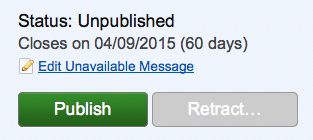 Screenshot showing the 'Edit unavailable message' link for an unpublished consultation