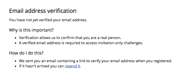 image of the verification page where users can resend the verification email and find out why this is important