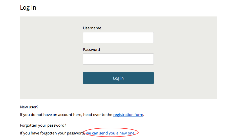 image showing the log in screen with the forgotten password link circled in red